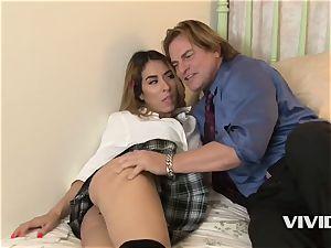 super hot Latina Camille Lixx deep throats Her Stepdads ample manhood