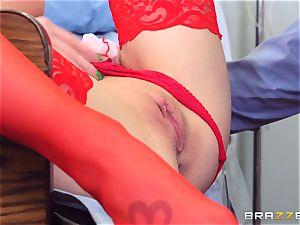 filthy nurse Shawna Lenee pulverizes a docs giant jizz-shotgun