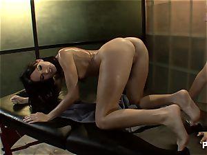 fantastic dark-haired seducing her masseuse