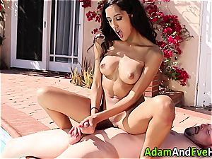 cool Latina tugging her excited guy