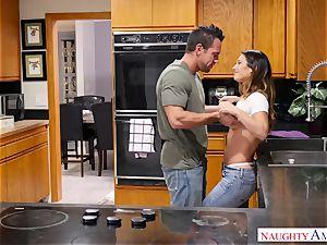 My greatest friend's pretty wifey taking my weenie in the kitchen