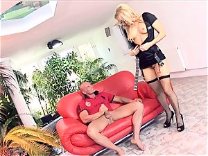 blond cop screwing in stocking and high-heeled slippers