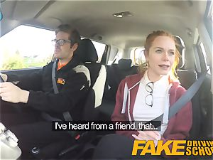 faux Driving college nice ginger-haired Ella Hughes pounds