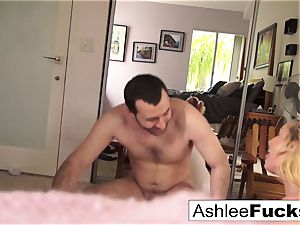 Ashlee and James penetrate all around the mansion