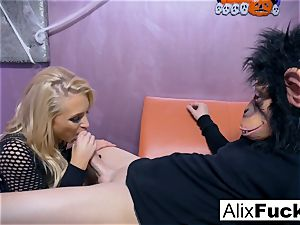 sex industry star Alix gets boned by a dude in a monkey mask