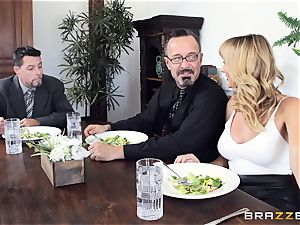 Brett Rossi takes a yam-sized beef whistle in her delicious vulva