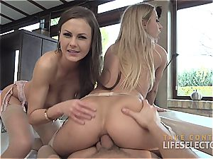 Tina Kay and Nikky Thorne share his boner and his spunk