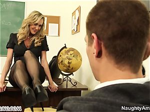 youthful stud nail his chesty adult professor during a lesson