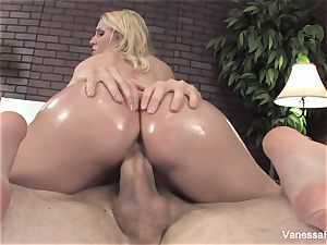 Her bubble bootie gets lubricated up and then she gets smashed