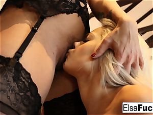 Elsa receives a tough lesson from her huge-boobed lecturer Holly