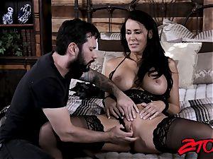 fantastic cougar rails boner and tastes cum