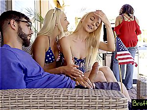 The only way to really celebrate 4th of July is by humping a duo of ash-blonde bitches