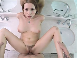 gorgeous dark-haired Adessa WInters giving blow-job and getting labia plumbed pov style