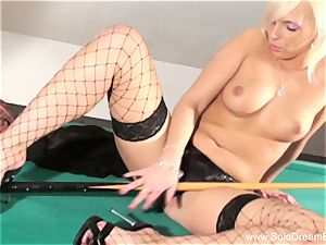 ash-blonde stunner On The Pool Table