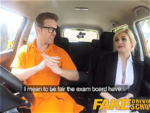 fake Driving school Posh horny huge-chested examiner