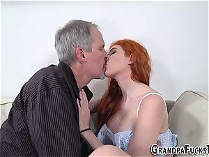 Ginger nubile pokes gramps
