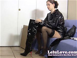 secretary gets home wears raincoat