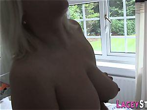 ash-blonde grannie Lacey Starr rides hard-on