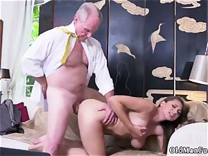 senior mommy ravage young girl Ivy impresses with her hefty breasts and caboose