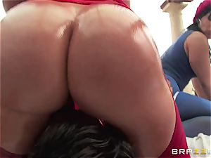 anal invasion lovemaking with three horny ginormous butt breezies Krissy Lynn, Nikki Delano and Rose Monroe