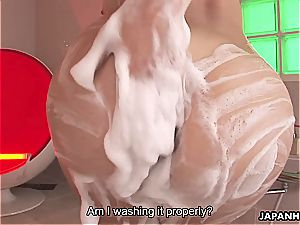 inviting Karin Kusunoki pleases man meat with her hairy slit