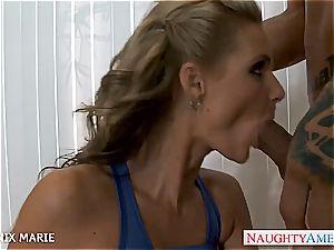 huge-boobed mummy Phoenix Marie drinks jizm