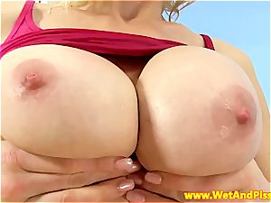 ash-blonde has excellent boobs and a fetish for urine