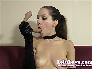 emo chick in gloves gives dirty lip liner deep throat