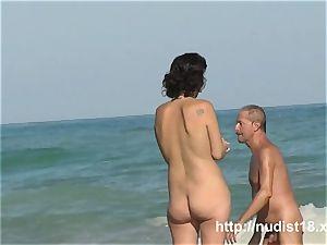 Public beach nudeist girl voyeur flick