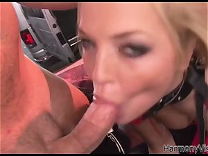 big-chested platinum-blonde cockslut gets pulverized rear end style