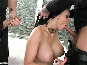 sultry slut Aletta Ocean gets two rock hard chubs sucking it super-fucking-hot one at a time