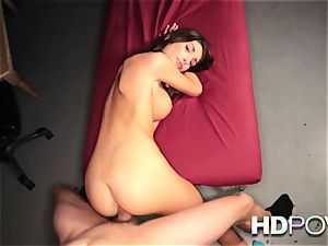 HD point of view scorching dark haired with gigantic hooters luvs to juggle trouser snake