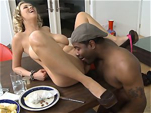 Frustrated wife Katie Kox gets boinked on a table in front of her dude