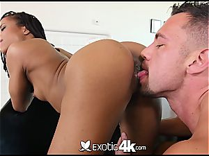 Pettite ebony nubile Kira Noir takes a man meat