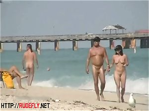 An extremely alluring bare beach voyeur vid