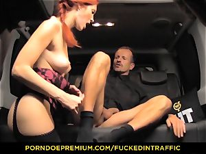 pummeled IN TRAFFIC - torrid Kattie Gold pummeled in the car