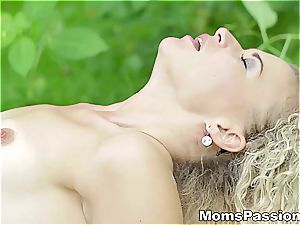 Romantic picnic plumb in the green nature