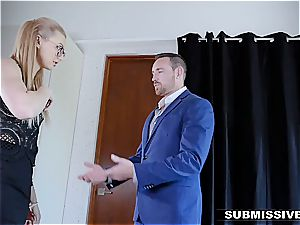 torrid platinum-blonde plays a bad damsel at the office and gets slapped