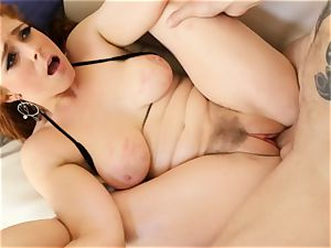 red-haired Penny Pax bangs with her furry honeypot