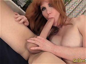 Redheaded granny Freya Fantasia plumbed rock hard
