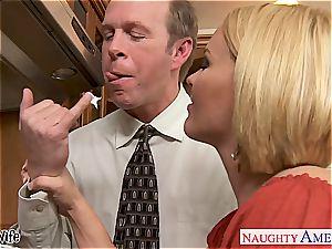 buxomy wife Krissy Lynn slurping jism in the kitchen
