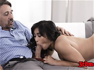 huge-boobed asian mummy jammed and facialized