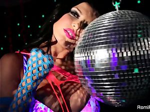 Romi plays w disco ball then jams toys in her pussy