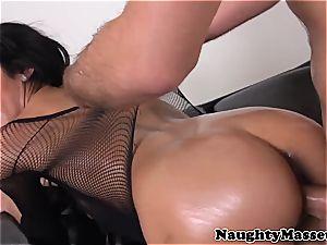 massagist in fishnets adorned in cum after rubdown