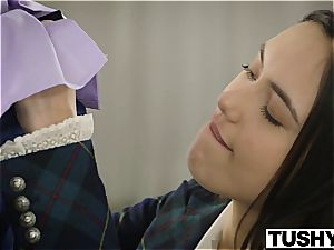 TUSHY anal Lessons for uber-sexy geek Maya Grand
