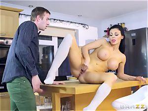 Luxury sex industry star Aletta Ocean with big elastic udders takes humungous manhood in her wet slit