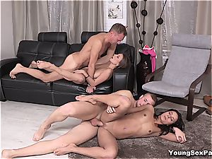 magnificent youthfull Russians having 4 way