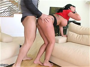 wondrous Kerry Louise takes a firm throat drilling