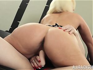 Alura Jenson cunt packed with strap-on mighty muscled female Brandi May