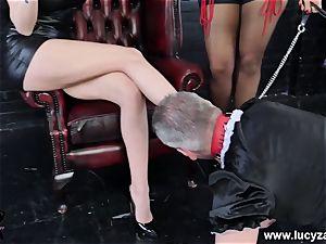 mistress Lucy Zara Lilly Roma cane abase sissy maid